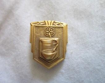 Antique Golden Bronze Pinback Four H Club 1930's Art Deco