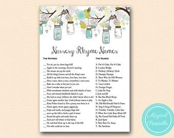 nursery rhyme game, nursery rhyme quiz, Rustic Mason Baby Shower, Baby Shower Games & Activities, Instant Download Games Printable TLC146