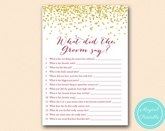 What did the Groom Say, What did he say about her, The Newlywed Game, Burgundy Bridal Shower, Bachelorette, Wedding Shower BS400