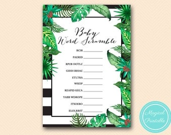 Scramble, baby word scramble game, unscramble,  Luau, Tropical Baby Shower Game, Instant Download, Printable Baby Shower Activities TLC428