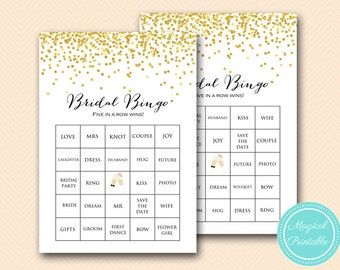 Prefilled Bridal Shower Bingo Cards, Bridal Words Bingo, Gold  Bridal Shower Games, Gold Glitter Bridal Shower Games, MP BS46