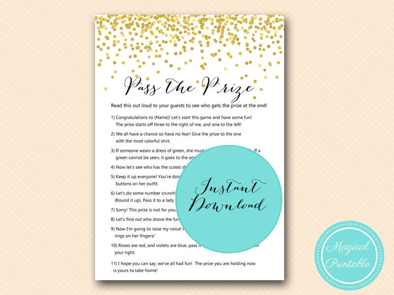 Wedding Shower Pass The Gift Poem : Pass the Prize Pass the Parcel GAme Poem Gold Confetti