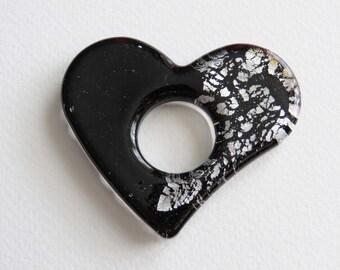 Foiled Glass Heart Pendant. Black.