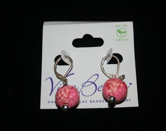 Vintage Hand Made Pink Viva Clay Beaded Jewelry Earrings