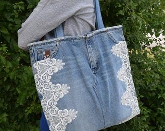 Lace tote / Denim Tote Bag / Blue Jeans Bag / Recycled Denim Bag / Denim pusre