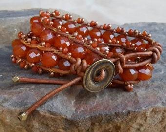 Russet Leather Wrap Bracelet