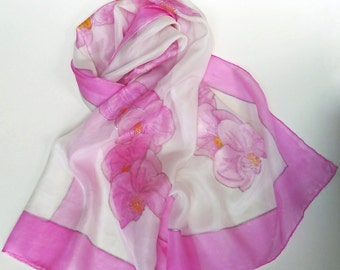 Pink Orchid Hand Painted Silk Scarf
