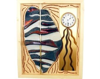 Wall clock Raku ceramic and patinated brass #15