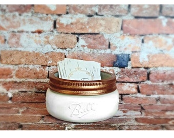 Business Card Holder. Desk Organizer. Mason Jar Business Card Holder. Office Accessories.
