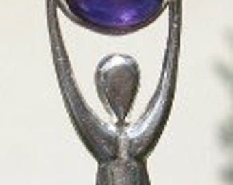 MOTHER EARTH GODDESS Pendant Amethyst Sterling Silver Love Unconditional Acceptance & Healing Reiki Wicca Magick