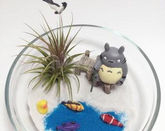 Totoro Air Plant Terrarium Kit / Totoro Fishing Figurine / Totoro Terrarium Kit / Miniature Fly Seagull