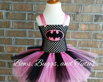 Pink and black batman, batgirl tutu, batgirl dress, batman birthday outfit, batman smash cake, 2t 3t 4t 5t, batman tutu dress, girl batman