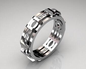 Mens Modern 14K White Gold Diamond Infinity Wedding Band B1009-14KWGD