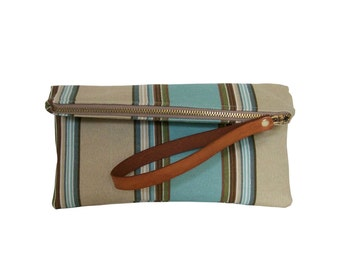Fabric Clutch Leather Handle