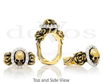 Skull Engagement Ring - Till Death, Skull and Roses Diamond Ring