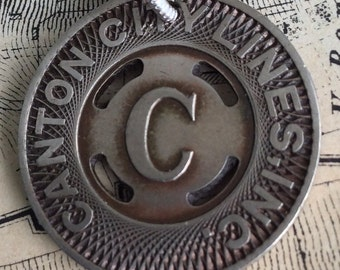 Vintage Subway Token Canton City Necklace