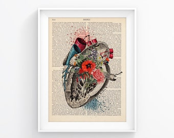 Vintage Book Print Art Wall decor Wall Art Decorative Art Book Page - Heart Flowers -  Retro Poster Vintage Illustration Gift Poster 018