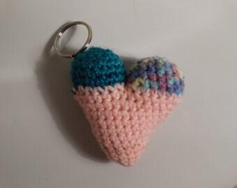 Crochet Heart key chain