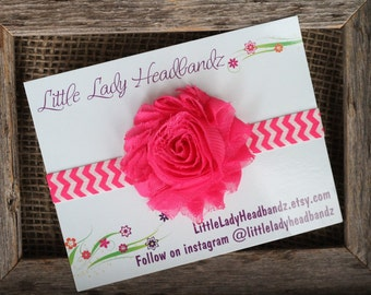 Hot pink headband baby headband - chevron magenta infant toddler headband