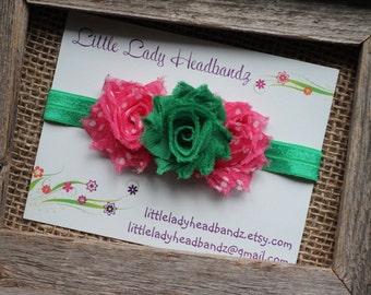 St Patrick's Day baby headband Pink and green headband -watermelon headband watermelon shabby flowers newborn infant toddler headband