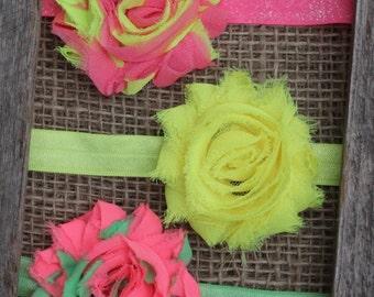 Neon headbands baby headbands SET OF 3, neon pink neon yellow neon green shabby flower chiffon - toddler newborn infant