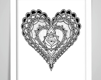 MANDALA HEART Print/Poster Wall Art Print Home Decor Valentines's Gift Framed or Print only free UK postage
