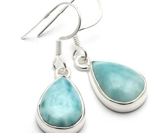 Larimar Earrings, 925 Sterling Silver, Unique only 1 piece available! color blue, weight 4.1g, #44178
