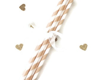 White and Ivory Stripe Paper Straws