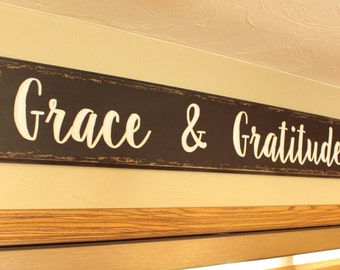 Grace and Gratitude - Carved Sign Wall Decor