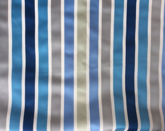 Blue and Silver Grey Striped Drum Lampshade - choose your shape and size