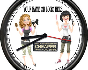 Hair Salon Stylist Barber Shop Cute Personalized With Your Name Or Logo Gift Sign Wall Clock