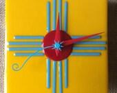 Zia Sun Fused Glass Wall Clock