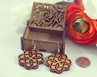 Laser cut wood earrings #1