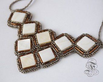 Bead Embroidered Necklace 'Bronze Shell'