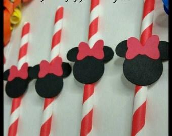 12 Minnie Mouse Straws, Minnie Party Straws, Baby Shower Drinking Straws