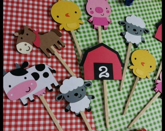 12 Barnyard Animal Cupcake Toppers, Farm Animals Cupcake Toppers