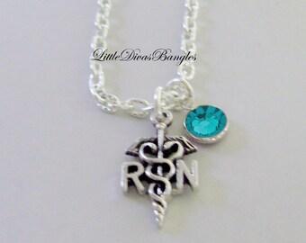 RN  Nurse  CHARM  W/  Swarovski Birthstone /  RN Necklace / Nurse Necklace / Chain Necklace Gift For Her / Under 20  Usa   Nk1