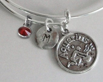 AQUARIUS Zodiac CHARM W/ Initial /  Birthstone - Adjustable Expandable Bangle Bracelet -  Zodiac Sign Bracelet  Gift - Under 20   Usa  Z1