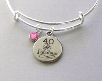 40 and Fabulous CHARM Bangle W/ Swarovski  Birthstone Crystal Drop Bangle /Happy Birthday Bangle - Gift For Her Under Twenty   HB1