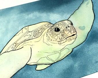 Ocean Wall Art, Sea Turtle Decor, Sea Turtle Watercolor, Sea Turtle Painting, Ocean Art, Sea Art, Original Watercolor Art, Original Artwork