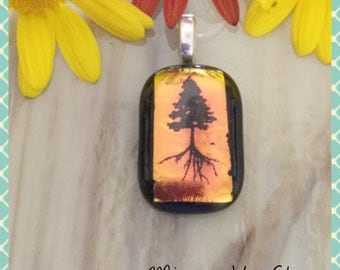 Tree Decal Dichroic Fused Glass Jewellery Necklace Pendant, Anniversary Valentine Birthday - by Minerva Hot Glass