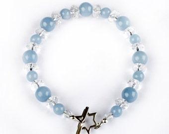 Celeste - bracelet of Angelsite and and Rock Crystal