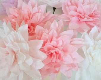 Individual Dahlia Paper Flowers-Hand Dyed-Weddings,Paper Flower Bouquet,Bridesmaid Bouquet, Bridal Shower,Cake Topper, Baby Shower
