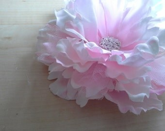 Pink Peony Flower Clip - Pink Jeweled Center Peony Flower Clip - Jeweled Floral Hair Accessory - Shabby Chic Country Wedding Accessories