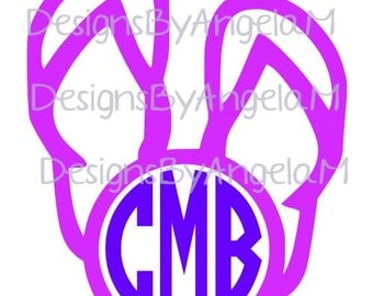 Flip Flops Monogram Initials SVG Digital cutting file  Instant Download - Use on your cutting machine