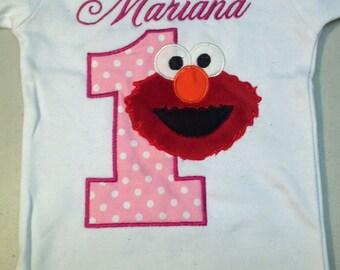 Pink Elmo 1st Birthday Onesie, Pink Elmo 1st Birthday Shirt Personalized Elmo Onesie Personalized Birthday Shirt Girl Birthday Shirt Elmo