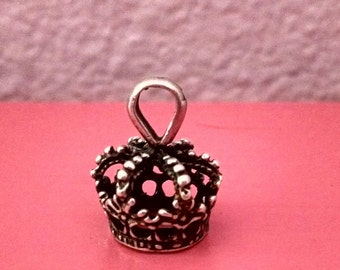 Stamped 925 Sterling Silver Crown Pendant / Charm