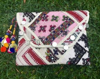 Indian Boho Tribal Patchwork Shoulder Bag/Clutch