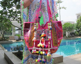 New! Indian Banjara Large Tote Bag Handmade Tassels Gypsy Beach Resort Handbag