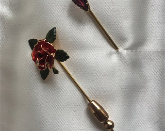 Two Jeweled Stick Pins, Garnet and Enameled Rose with Diamond-like stone.